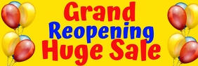 Grand Reopening Huge Sale with Balloons Banner 2 x 6 fod template