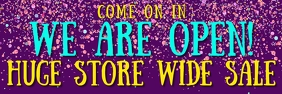 GRAND REOPENING RETAIL BANNER WITH CONFETTI Spanduk 2' × 6' template