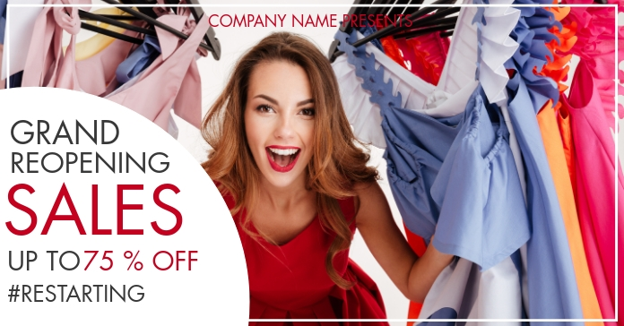 grand Reopening sales up to 75% off facebook template