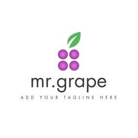 grape icon logo with leaf template