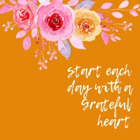 Grateful Heart Orange and Pink Instagram Post template
