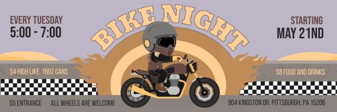 Gray Bike Night Event 2'x6' Banner Template