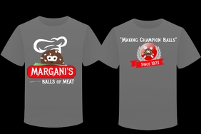 Gray Meatball Restaurant Tshirt Design Poster template