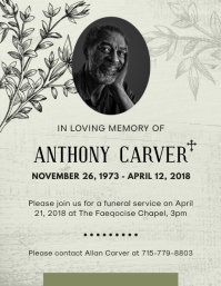 Gray Obituary Flyer Template