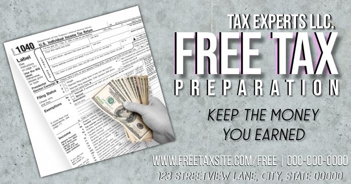 Gray Tax Expert Prep Services delt Facebook-billede template