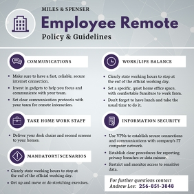 Gray Work from Home Policy and Guidelines Instagram Post template