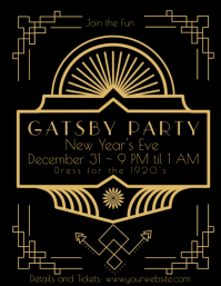 Great Gatsby Party Announcement Invitation Løbeseddel (US Letter) template