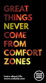 Great Things Never Come from Comfort Zones Instagram na Kuwento template