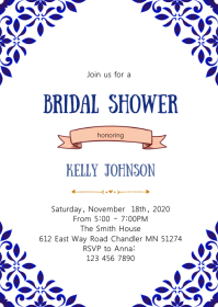 Greek bridal shower invitation A6 template