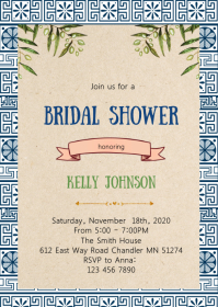 Greek bridal shower invitation