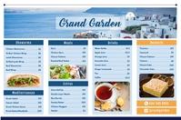 Greek Mediterranean Restaurant Landscape Menu Poster template