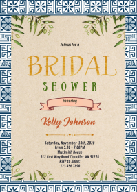 Greek theme bridal shower party invitation A6 template