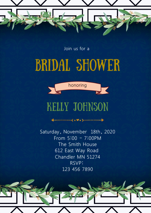 Greek toga bridal shower invitation
