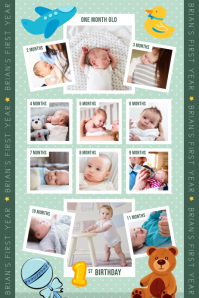 Green 1st year of life portrait poster template