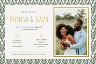 Green African American Wedding Invitation Pos Póster template