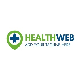 green and dark blue colors health icon logo template