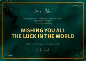 Green and Gold Goodluck Card Открытка template