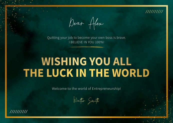 Green and Gold Goodluck Card Postal template