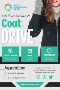 Green and Grey Coat Drive Fundraising Poster