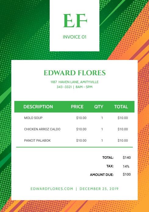 Green and Orange Corporate Invoice
