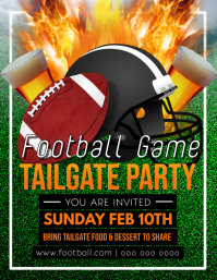 Green and Orange Football Tailgate Party Flyer