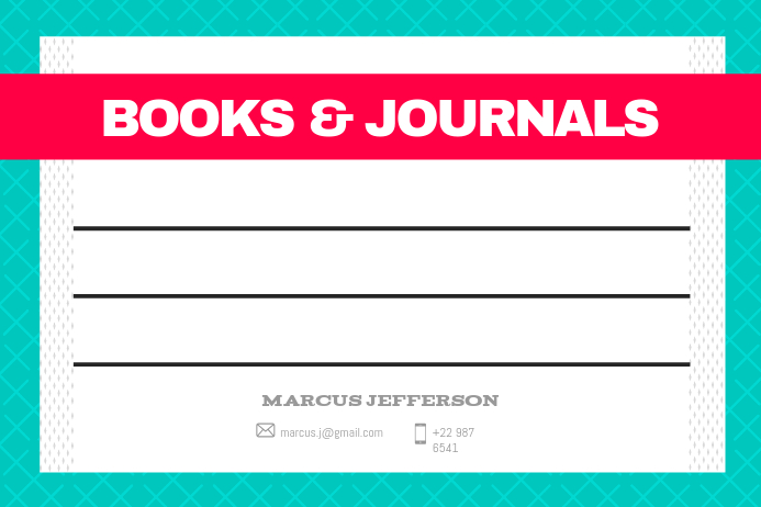Green and Pink Books Journals Label template