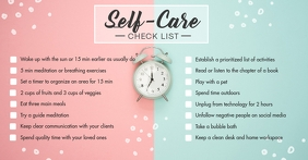 Green and Pink Self-care Checklist Facebook Shared Image template