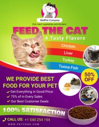 Green and Purple cat food social media post t 传单(美国信函) template