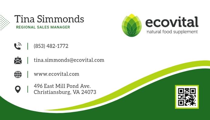 Green and White Business Card Tarjeta de Presentación template