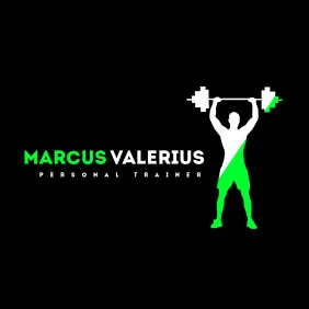 green and white personal trainer logo