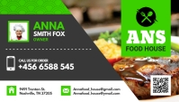 Green and White Restaurant Business Card Desi template