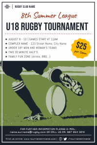Green and white Rugby Tournament Poster Template Плакат