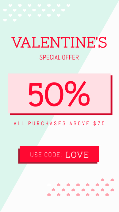 Green and White Valentine's Sale Instagram Story template