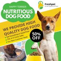 Green and yellow dog food advert Quadrat (1:1) template