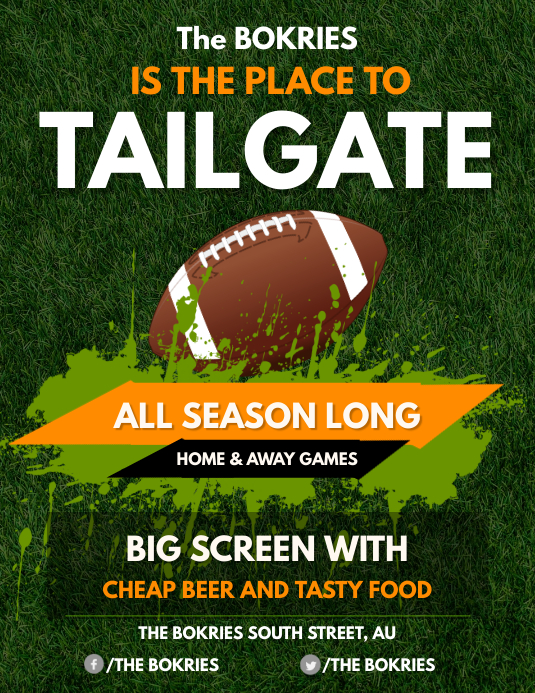 Green and Yellow Football Tailgate Party Flyer