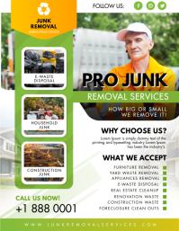 Green and Yellow Junk Removal Flyer Design Pamflet (VSA Brief) template