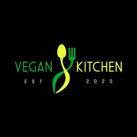 green and yellow vegan restaurant logo