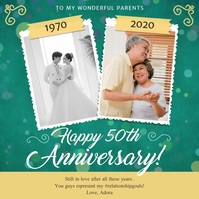 Green Anniversary Greetings Square Video template