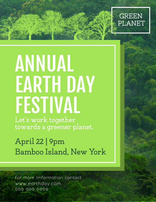 Green Annual Earth Day Festival Flyer