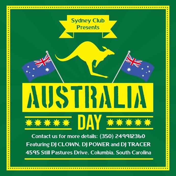 Green Australia Day Invite Template