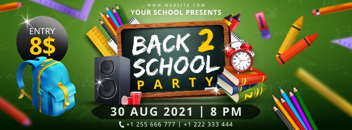Green back to school party banner Facebook Cover Photo template
