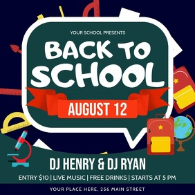 Green Back to School Party Square Video