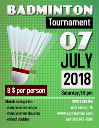 Green Badminton flyer Template