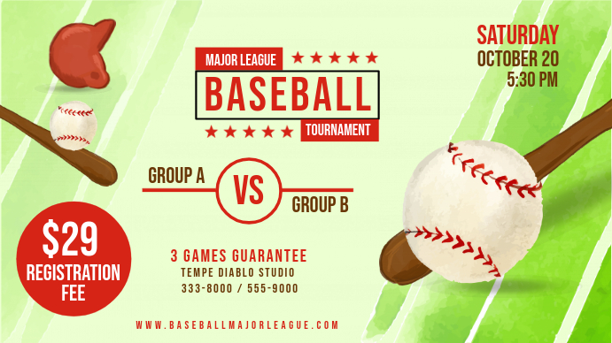 Green Baseball Tournament Banner Digitalanzeige (16:9) template