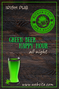 Green Beer Happy Hour Poster template