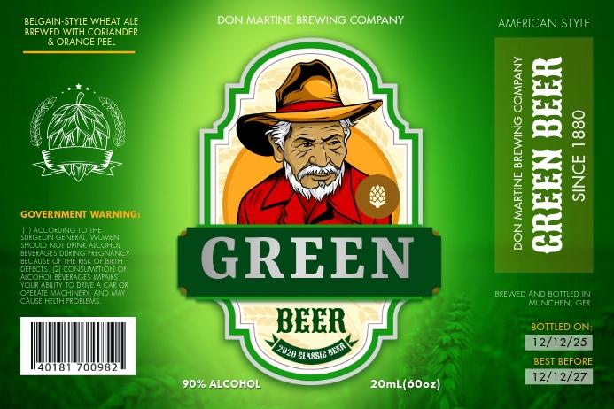 Green Beer Label Etiket template