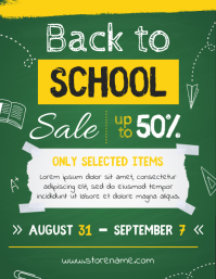 Green Blackboard Back to School Sale Flyer Template