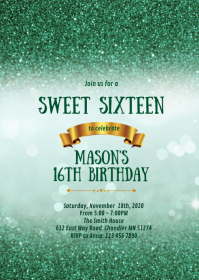 Green bokeh 16th birthday party invitation A6 template