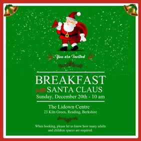 Green Breakfast with Santa Invitation Square