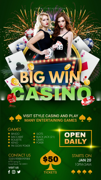 Green Casino Opening Digital Display Affichage numérique (9:16) template